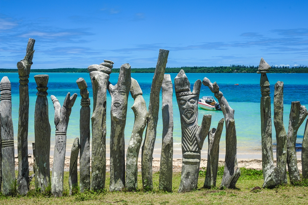 Carved totem poles, New Caledonia