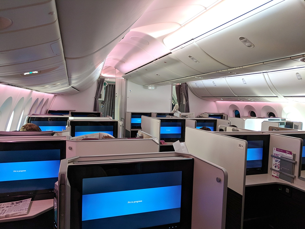 The front Business Class cabin on the Japan Airlines B787 Dreamliner