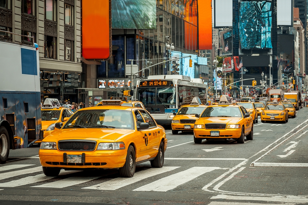 Road filled with taxis in New York