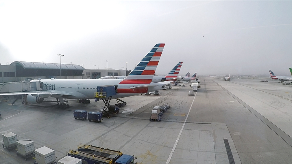 American Airlines planes parked at LAX