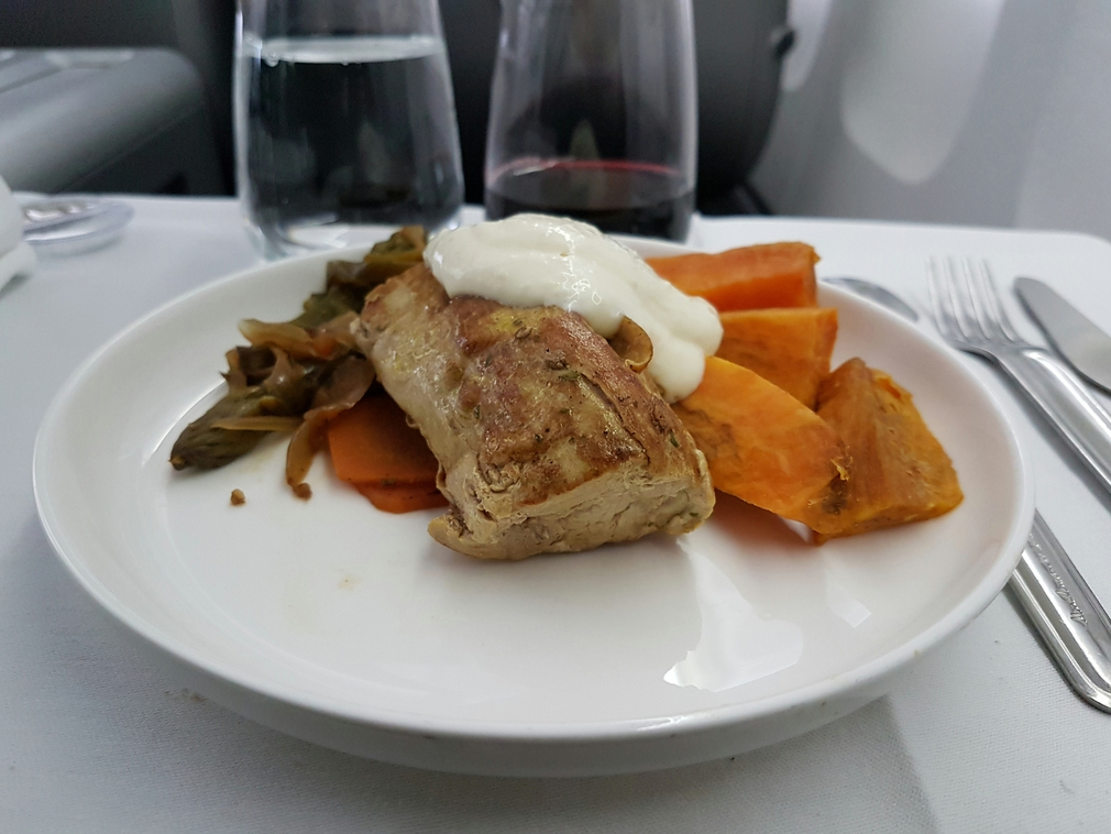 Qantas Business Class lunch