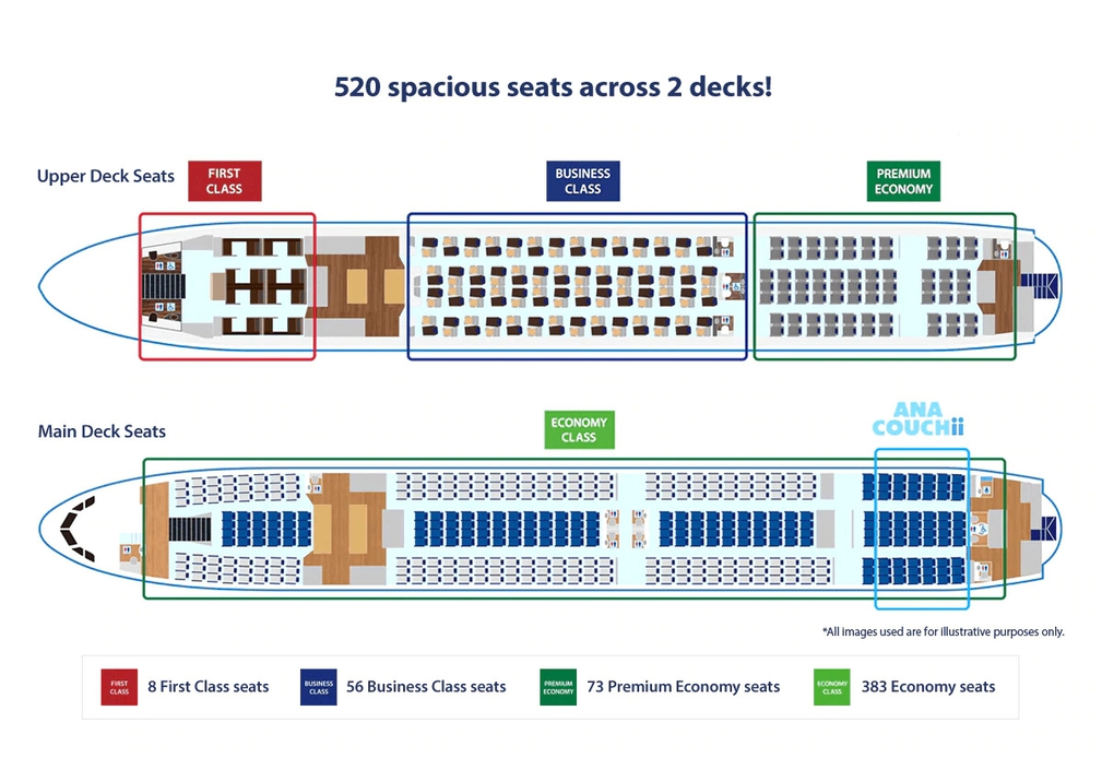 Cabin layout and seating on ANA a380 on the NRT-HNL route