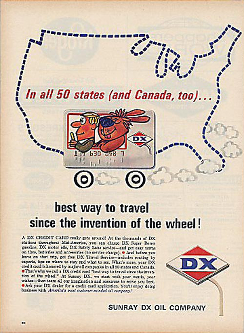 DX vintage credit card ad