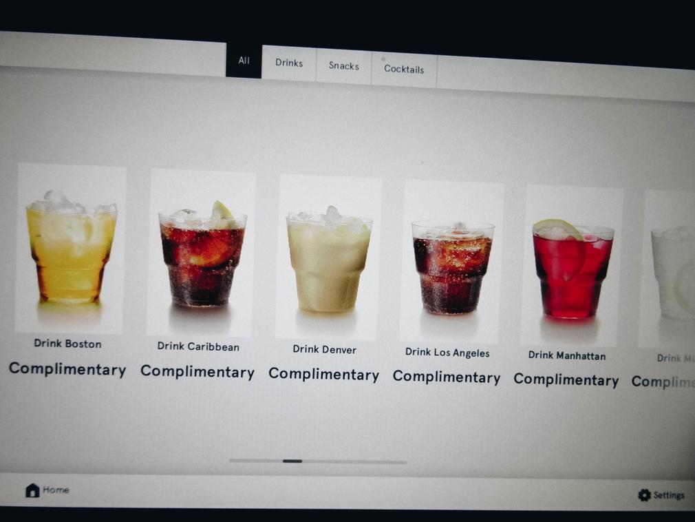 Norwegian in-flight cocktail menu