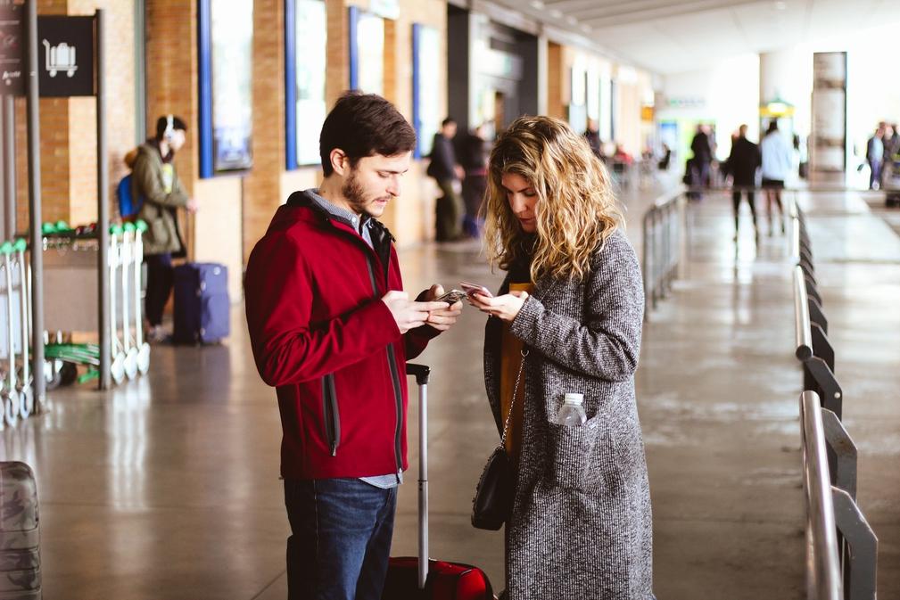 Man and woman at an airport