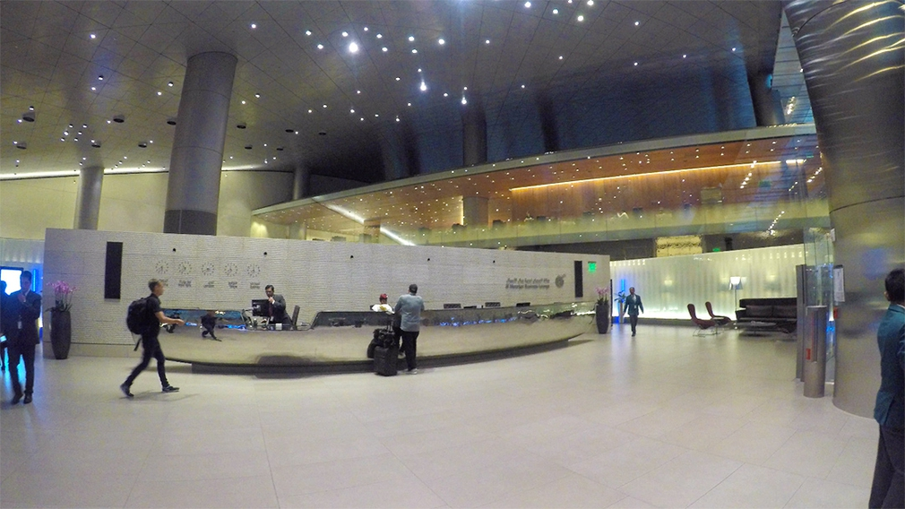 Entering the Al Mourjan Business Lounge in Doha Airport