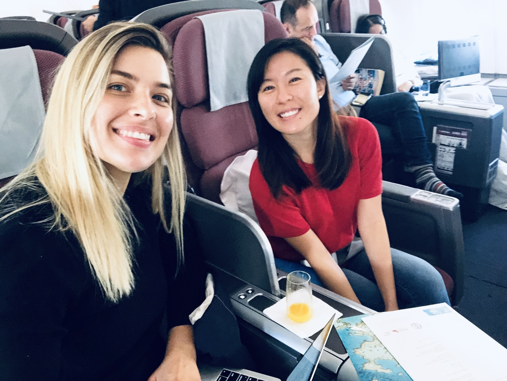 Head of Marketing and Marketing Executive flying QF127 Business Class