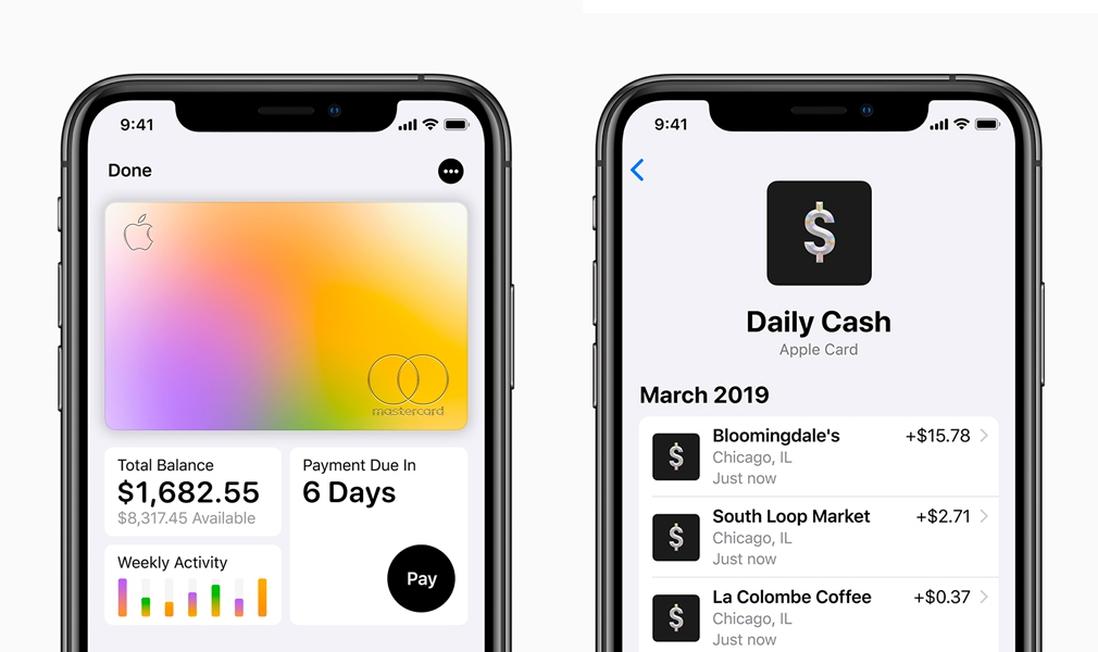 Apple Credit Card Screens on iOS