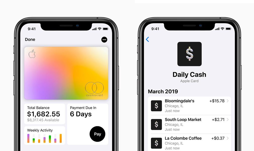Apple Credit Card Screens on iOS