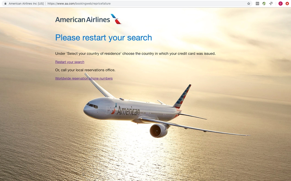 AA.com Booking Error Page