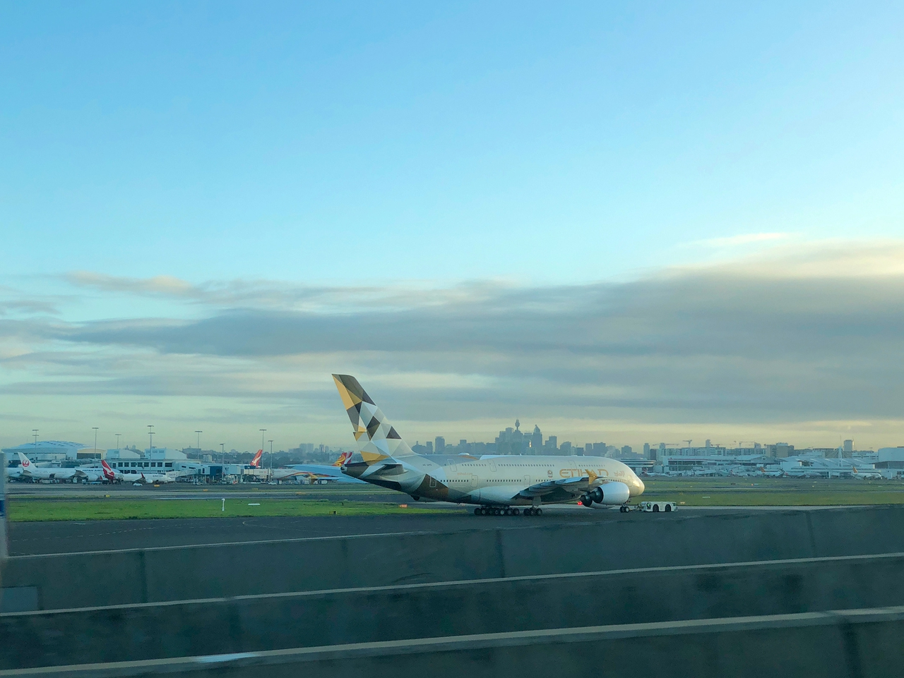 The Etihad A380 taxiing out at Sydney Airport