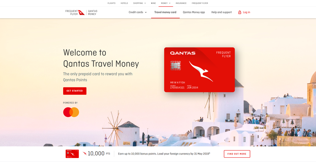 Qantas travel money card