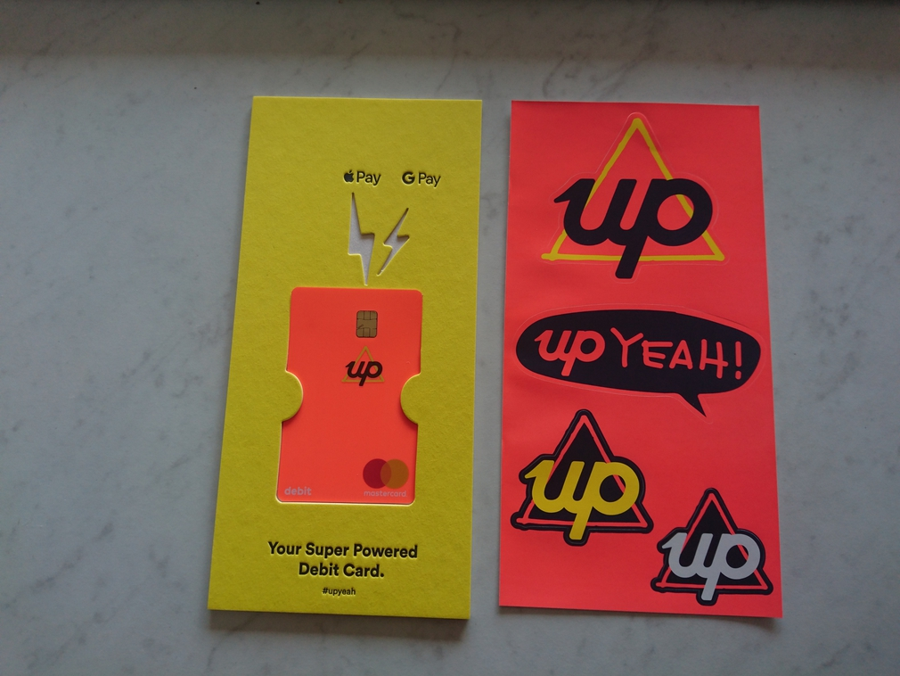 Up bank card packaging