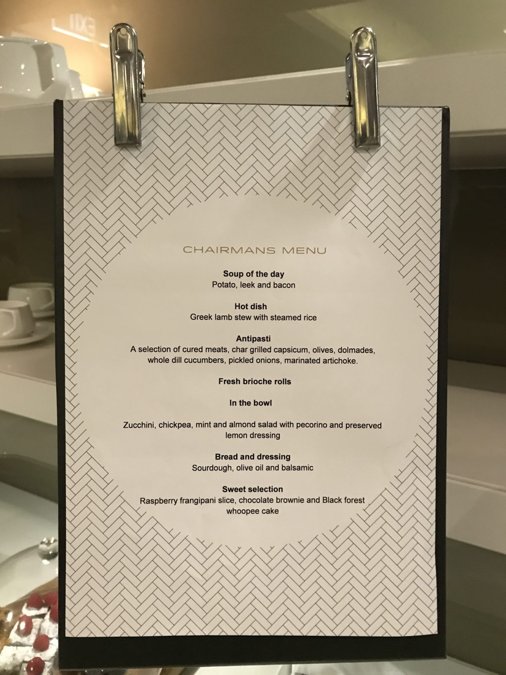 Brisbane Qantas Chairman's Lounge menu