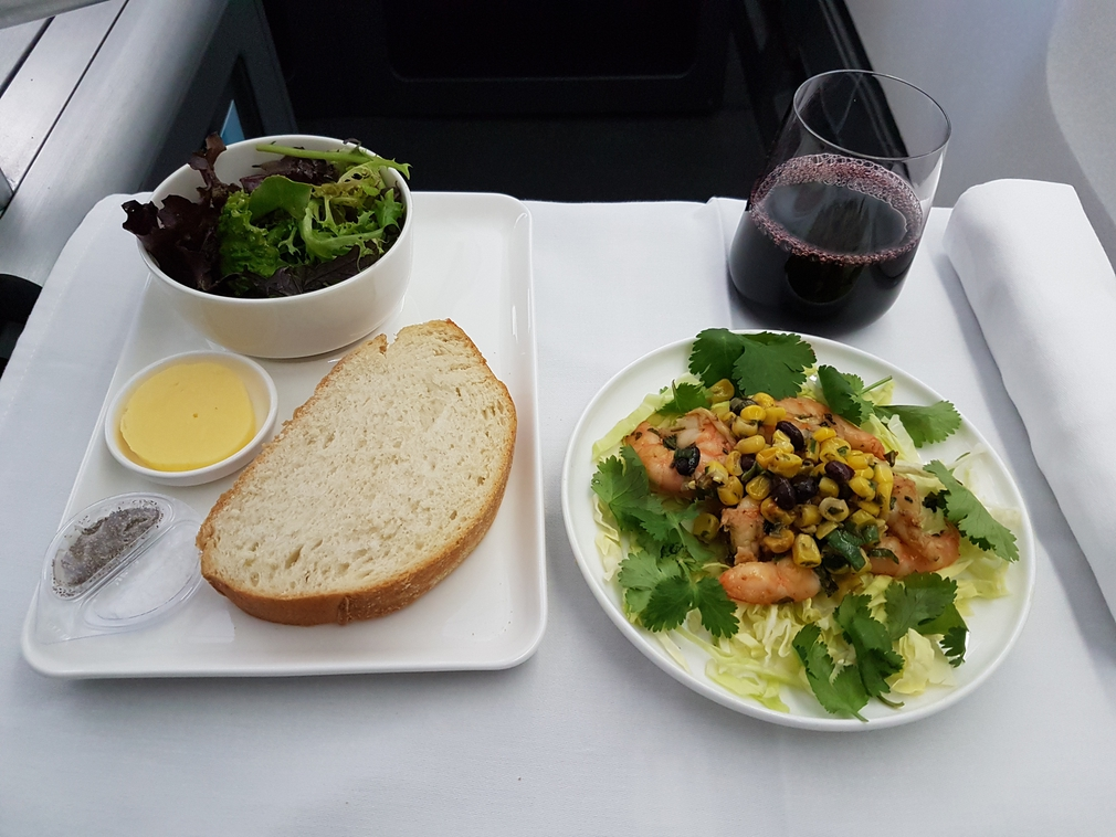 Qantas business class dinner