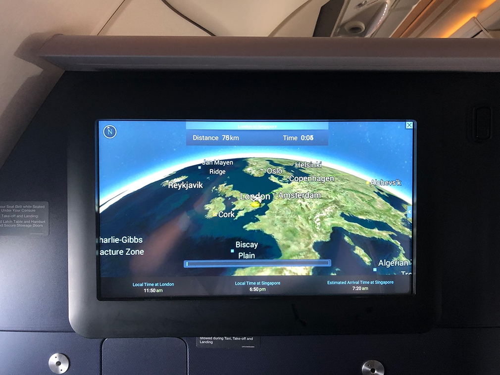 Big screen on the A380 business class (SQ317)
