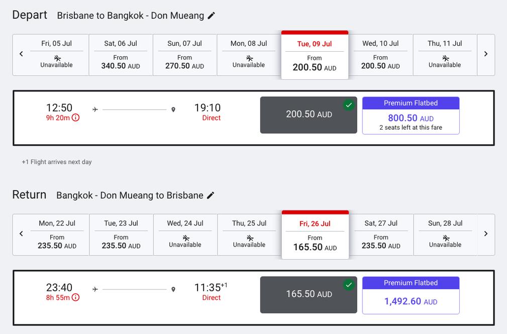 AirAsiaX Booking Flights BNE - DMK