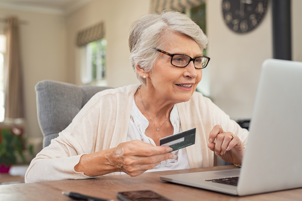 Elderly using credit card
