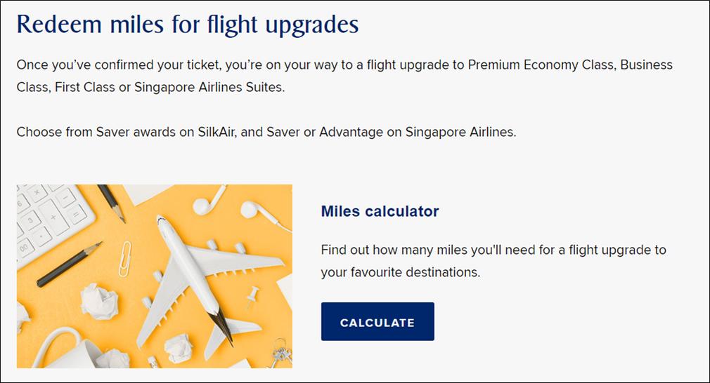 Redeem miles for flight upgrades page Krisflyer