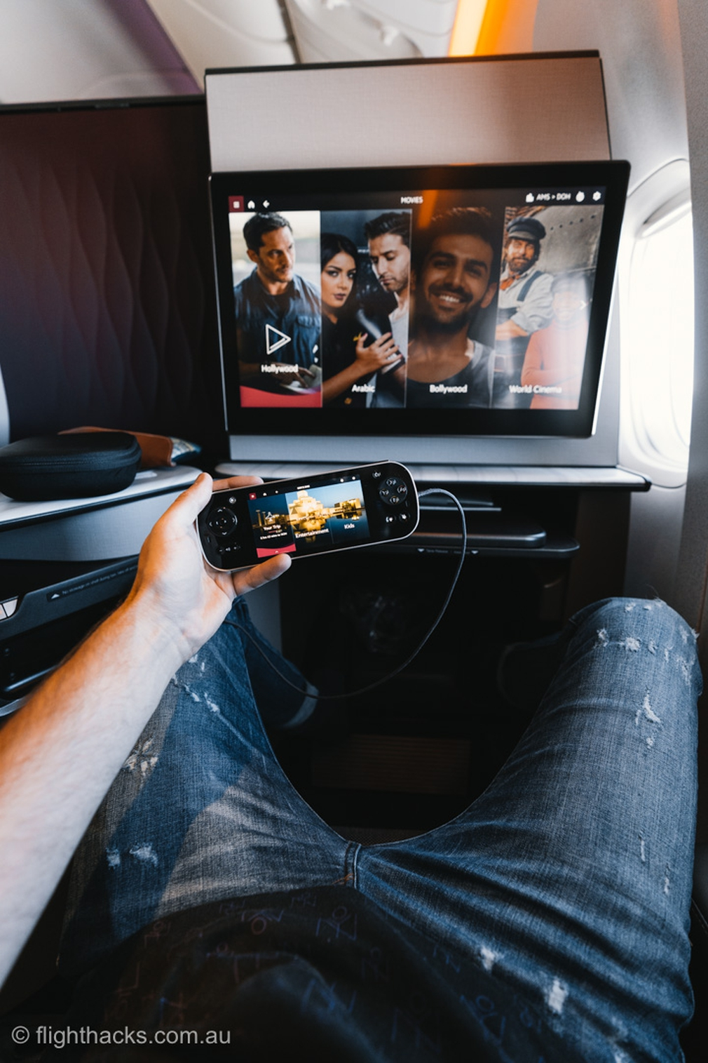 Qatar Airways Qsuite In-flight entertainment