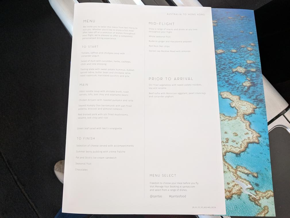 QF127 Business Class menu