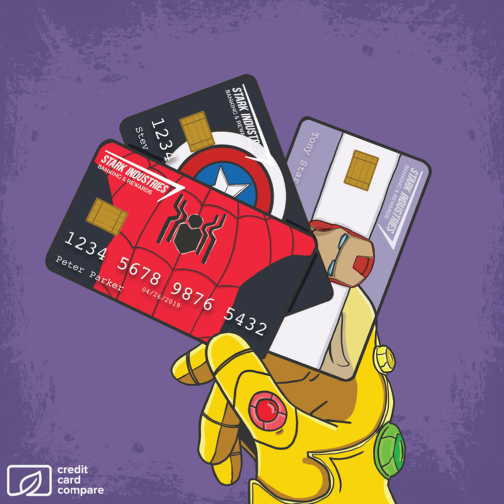 Avengers credit cards being held by Thanos
