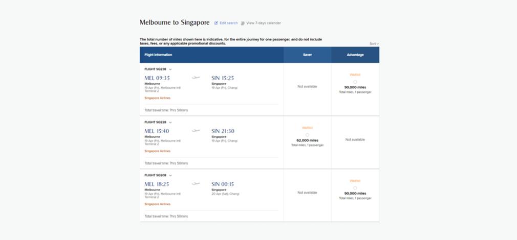 Krisflyer booking flights screen