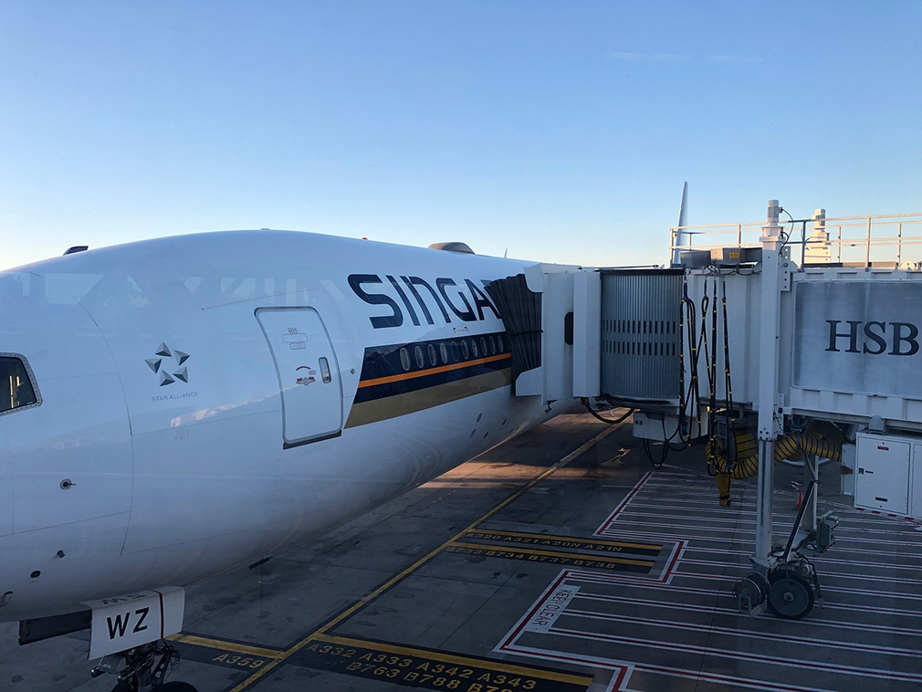The airbridge onto Singapore Airline's B777 300ER