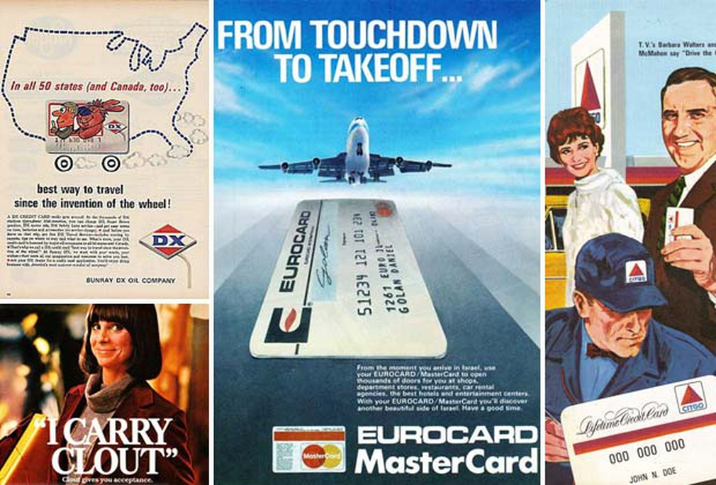 Vintage credit card advertisements