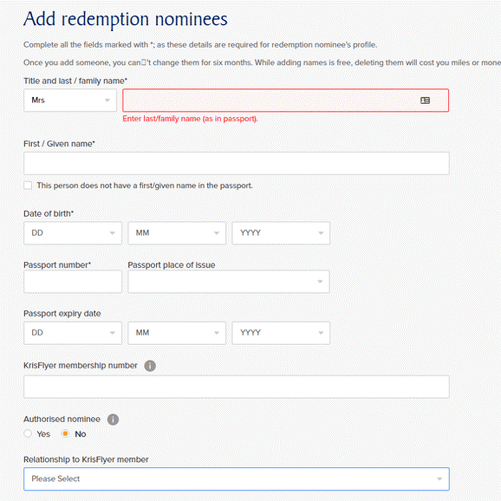 Personal details of nominee form Krisflyer