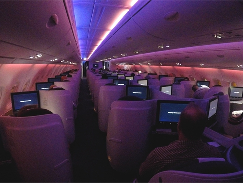 Qatar A380 Business Class Cabin
