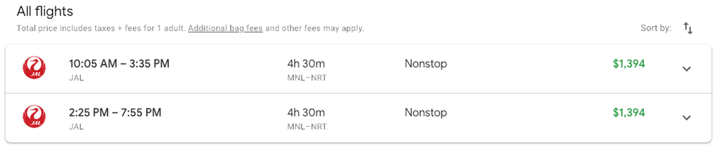 The cost to buy JL746 Business Class on Google Flights