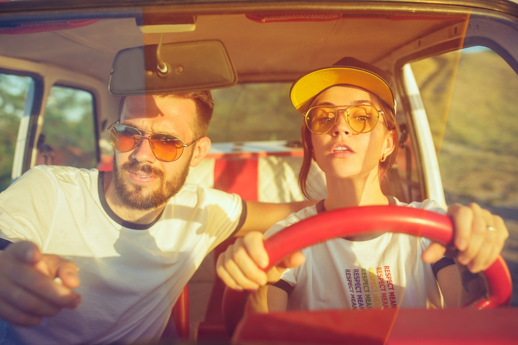 Young couple on road trip