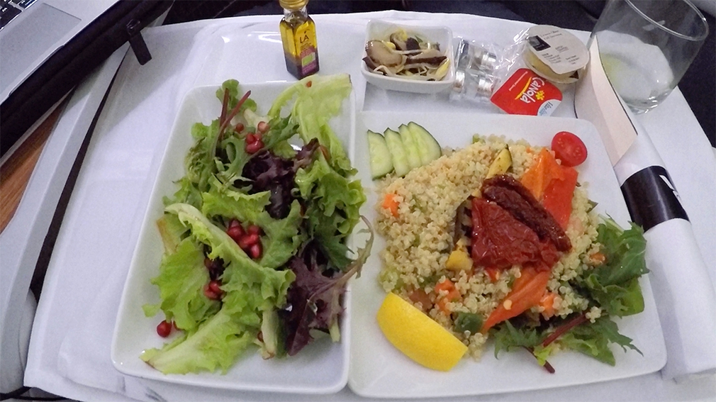 Salad and couscous on flight AA72