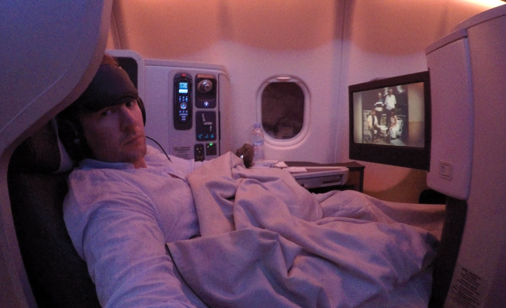 Sleeping on a Cathay Pacific flight Business Class CX133