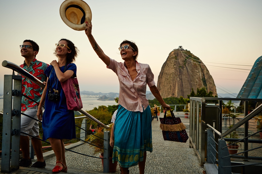 People enjoying a coastal holiday