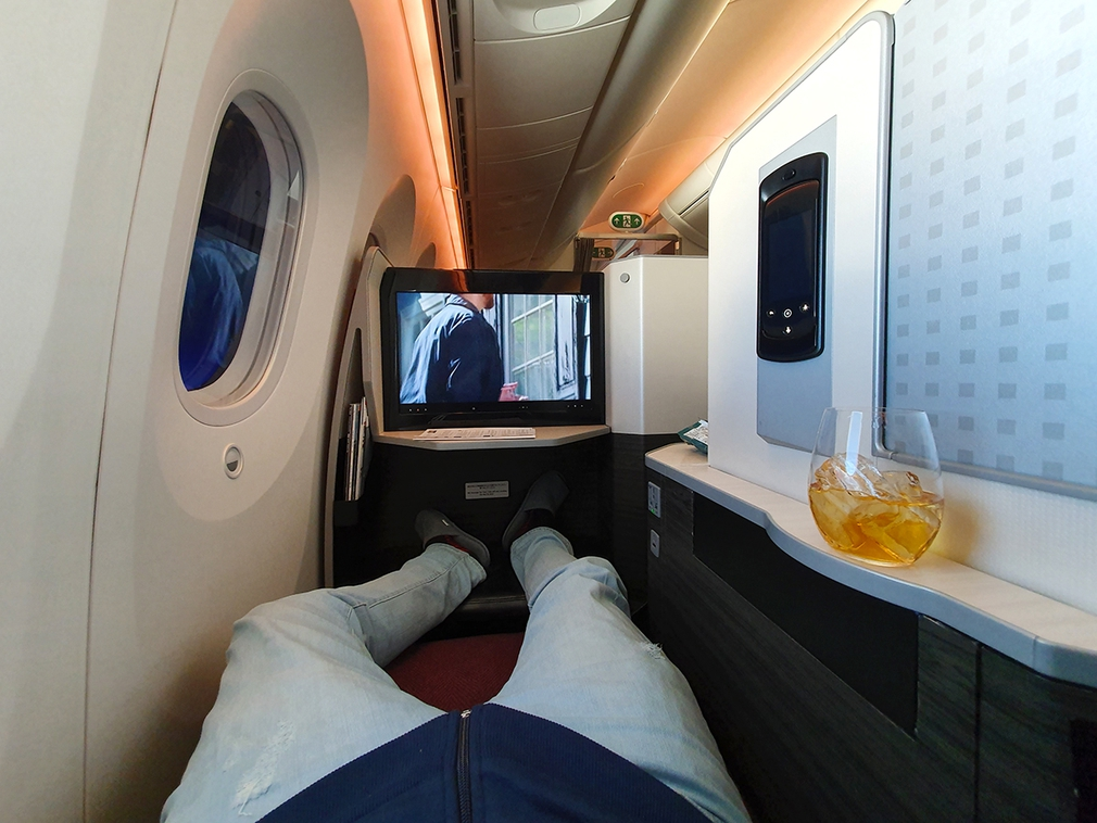 Have a full stretch out on JAL Sky Suites flat bed