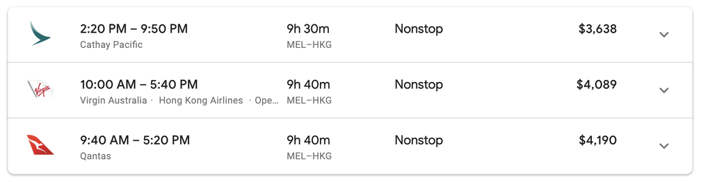 Non-stop flights in Business Class MEL - HKG