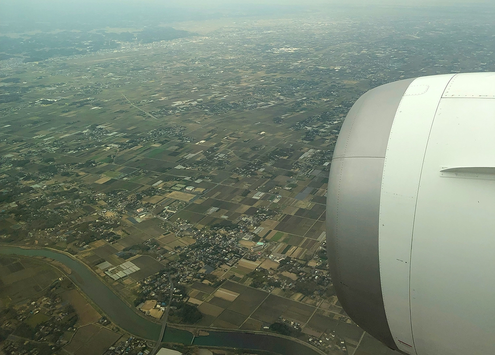 Arriving into Tokyo Japan on a gloomy day