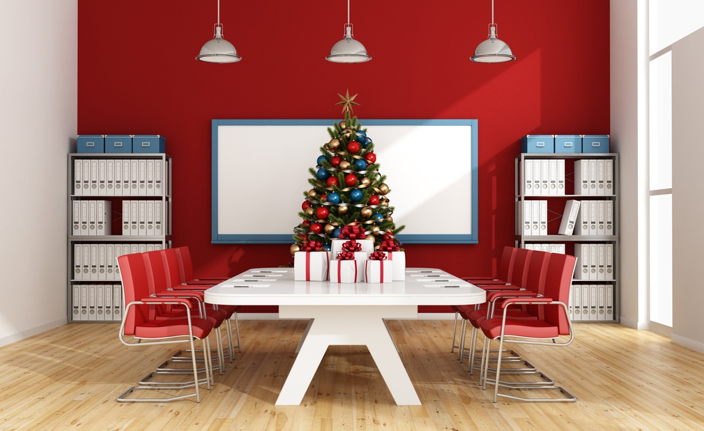 Board room table with christmas tree on top
