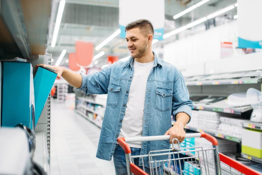 man shopping home appliances