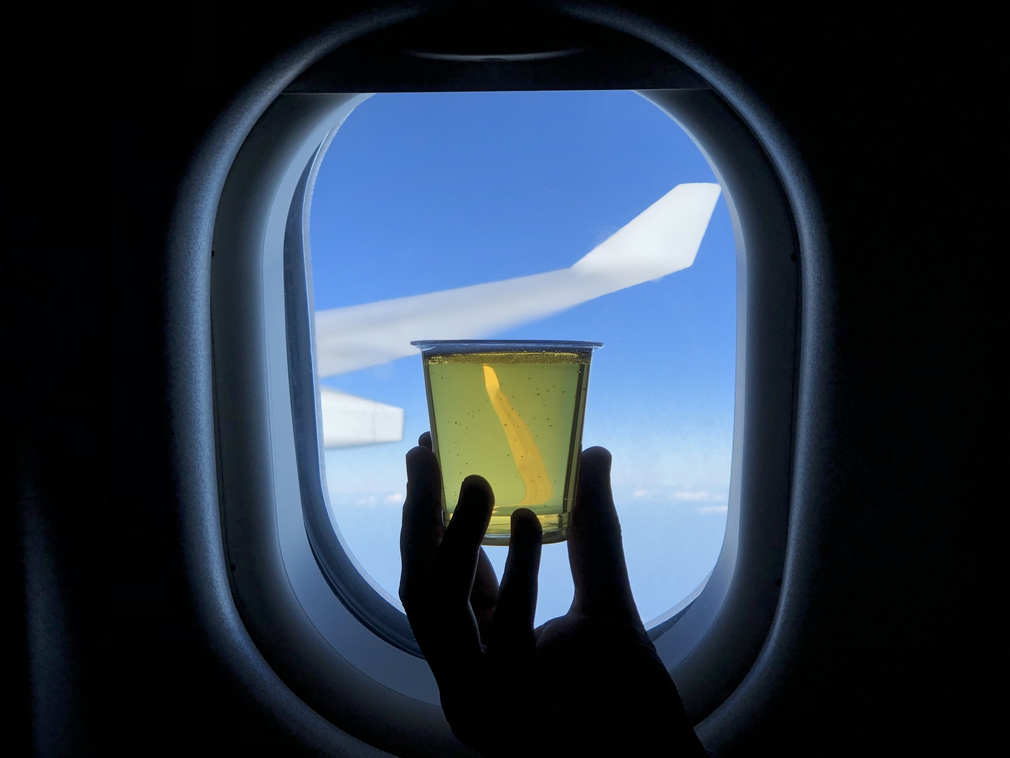 Art. Or just a random picture of a glass of beer in front of a plane window?
