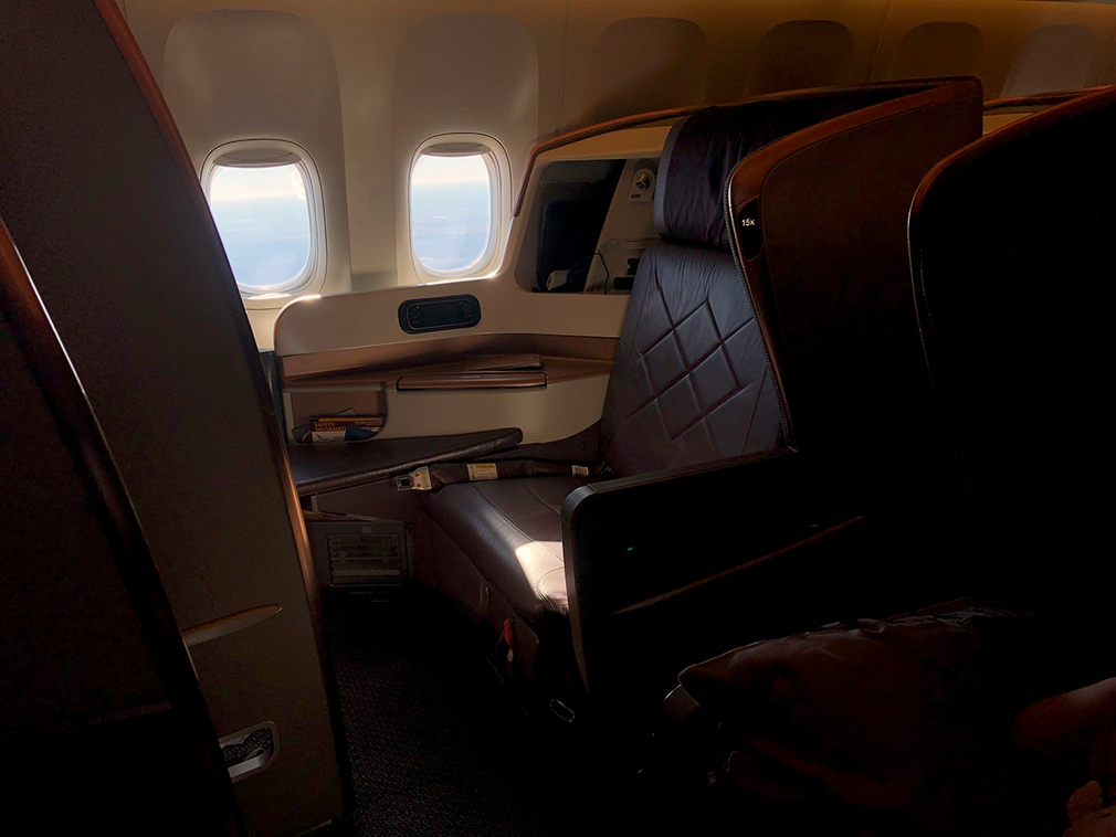 SQ212 business class seat on the window