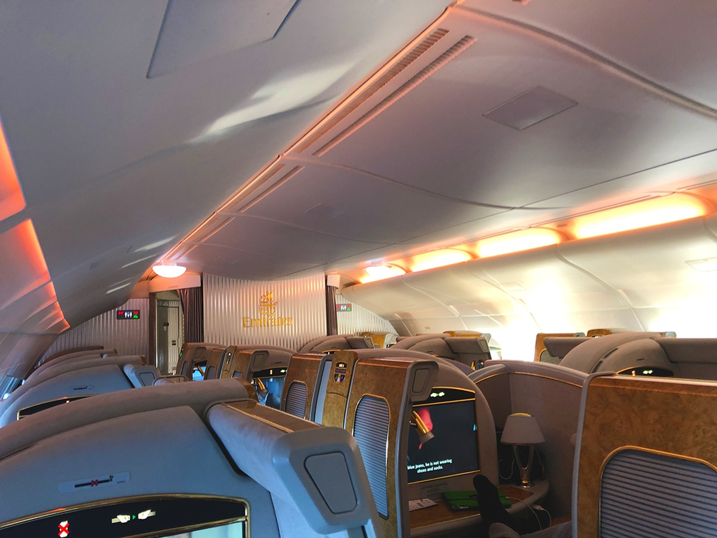 EK412 First Class 14 suites on the A380 in the 1-2-1 configuration