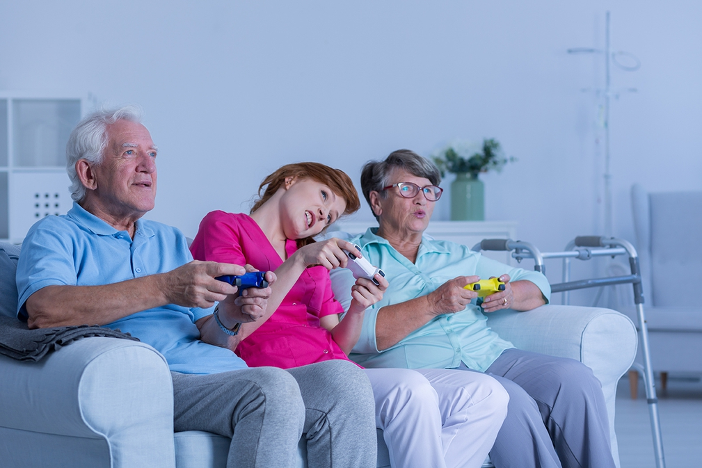 Granddaughter teaches how to game