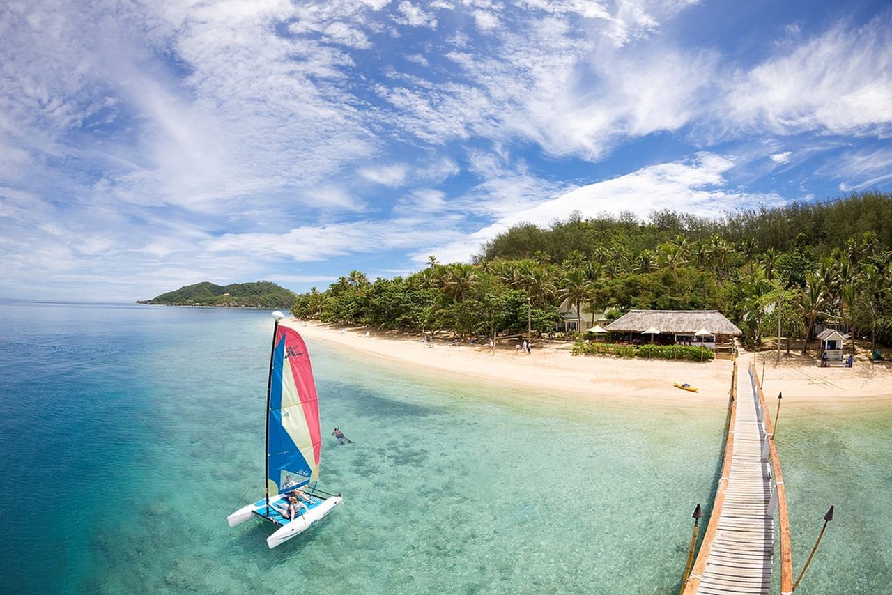 Fiji beach and catamaran