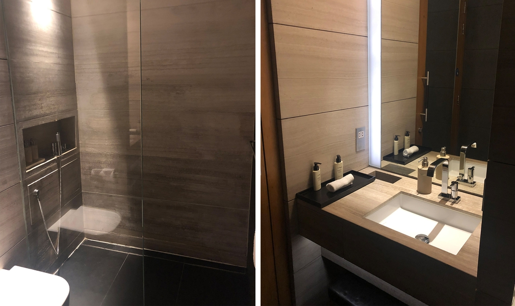 Shower and bathroom at The Wing lounge
