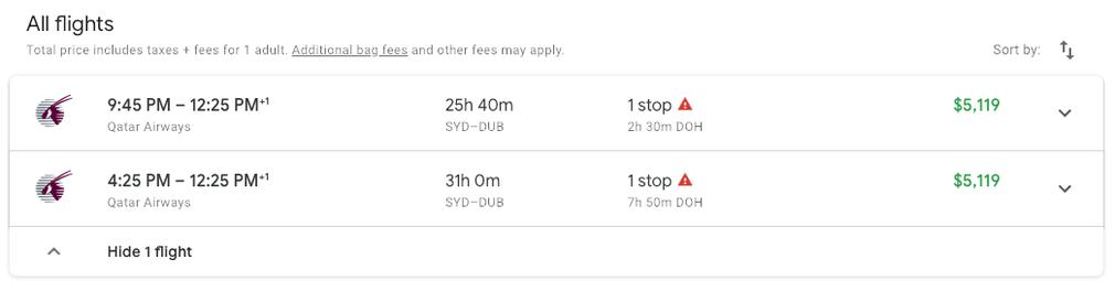 Ticket cost of Qatar Business Class on Google Flights
