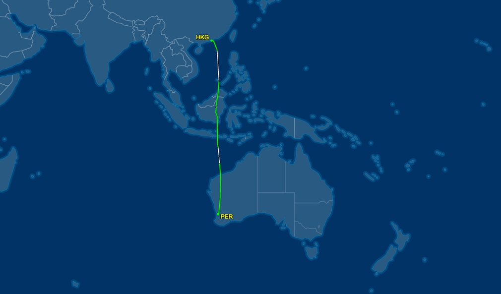 Flight path from HKG to PER
