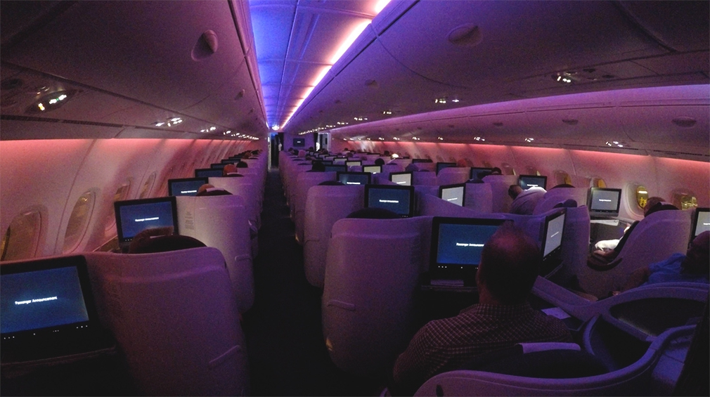 Night time mood lighting in the Business Class cabin on Qatar's A380